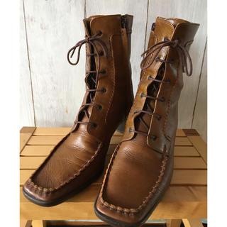 バークレー(BARCLAY)のレディースショートブーツ(バークレー)キャメル、茶色24.0㎝レースアップ(ブーツ)