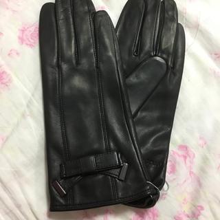 ジルスチュアート(JILLSTUART)の新品ジルスチュアート JILLSTUART  羊革手袋 リボン 黒(手袋)