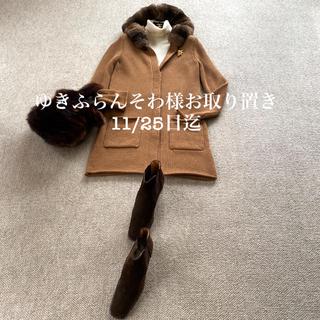 フォクシー(FOXEY)のフォクシーの上質でとても可愛いチンチラフード付きコート(ニットコート)