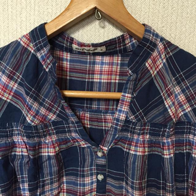 navy natural(ネイビーナチュラル)の半袖チェックシャツ レディースのトップス(シャツ/ブラウス(半袖/袖なし))の商品写真