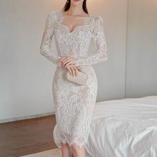 EmiriaWiz - 総レースデザインワンピース ドレス(ホワイト)