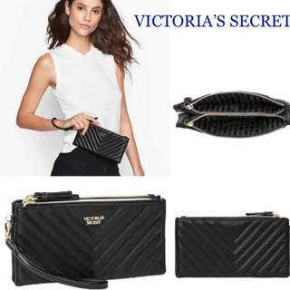 ヴィクトリアズシークレット(Victoria's Secret)のヴィクトリアシークレット キルト生地クラッチ、ウォレット黒新品(財布)
