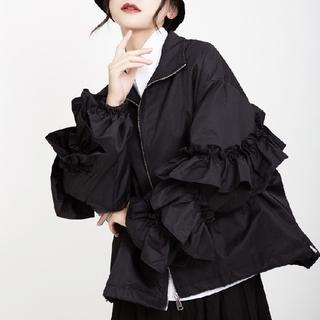 antiqua - ブラック 袖フリル ジャケット ブルゾン