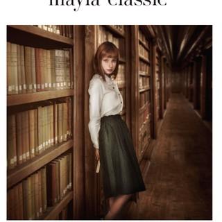 メゾンドフルール(Maison de FLEUR)のmayla classic コントゥール・モナムルー グリーン(ひざ丈スカート)