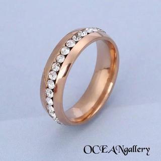 送料無料 14号 ピンクゴールドステンレススーパーCZ フルエタニティリング指輪(リング(指輪))