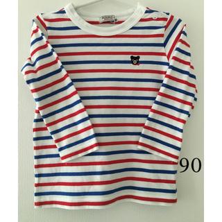 DOUBLE.B - ダブルB 90  赤青ボーダー ロンT Tシャツ 中古 mikihouse