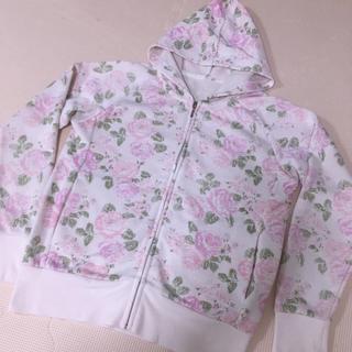 GU - ジーユー 150 花柄 パーカー ピンク 白
