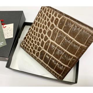 【お値下げ】牛革製 二つ折り財布 未使用新古品 日本製 ダークブラウン(折り財布)