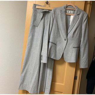 マックスマーラ(Max Mara)の新品同様MaxMaraイタリア製羊革テーラードジャケットグレーセットアップスーツ(スーツ)