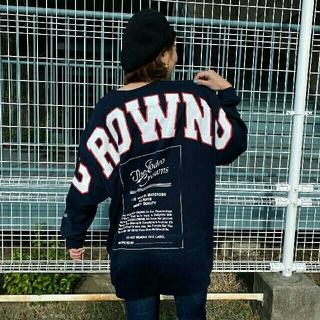 ロデオクラウンズワイドボウル(RODEO CROWNS WIDE BOWL)の👑新品👑ロゴパッチBYワンピース  ネイビー(ひざ丈ワンピース)