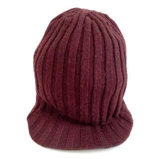 バーバリー(BURBERRY)のバーバリー ニット帽 ボルドー ウール(ニット帽/ビーニー)