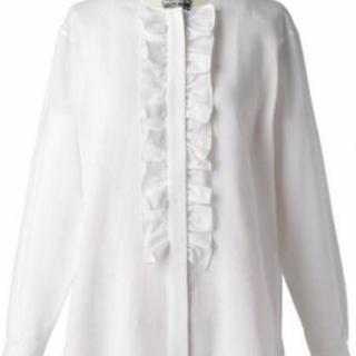 Drawer - ドゥロワー  ホワイトストライプフリルノーカラーシャツ 36 新品未使用品