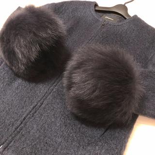 グレースコンチネンタル(GRACE CONTINENTAL)のボリューム満点❣️FOXファー付きノーカラーシャギーコート 万能カラーネイビー(毛皮/ファーコート)