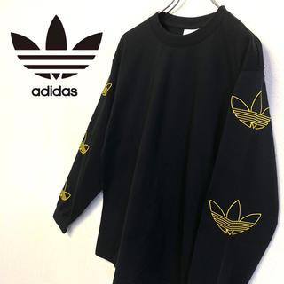adidas - 美品 adidas 長袖 刺繍ロゴTシャツ メンズS ブラック