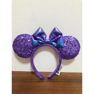新品 上海ディズニー  ミニー 紫 パープル スパンコール カチューシャ