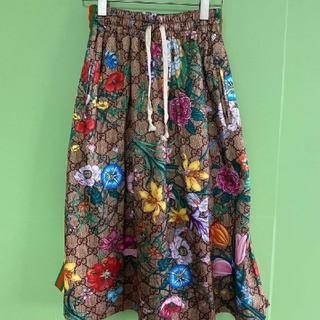 グッチ(Gucci)のGUCCI フローラルプリント ジャージー スカート(ひざ丈スカート)
