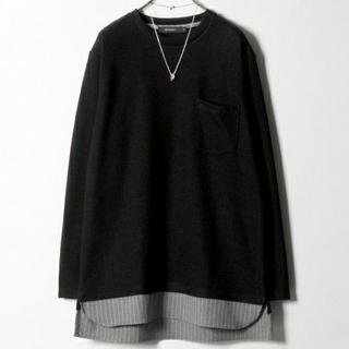 レイジブルー(RAGEBLUE)のレイジブルー 裾柄レイヤードニットソー 黒 Lサイズ(Tシャツ/カットソー(七分/長袖))