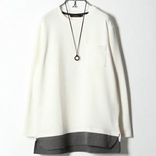 レイジブルー(RAGEBLUE)のRAGEBLUE 裾柄レイヤードニットソー 白 Lサイズ(Tシャツ/カットソー(七分/長袖))