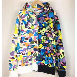 A BATHING APE - MULTI CAMO HALF SHARK FULL ZIP HOODIE