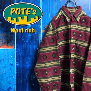 WOOLRICH - 【ウールリッチ】USA製スクリュー・ギア柄ネイティブ柄総柄ネルシャツ