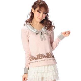 LIZ LISA - LIZ LISA☆新品♪Tralala*裾チュール襟&リボン付き重ね着風トップス