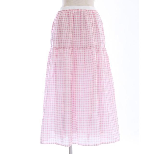 Drawer(ドゥロワー)のobli ギンガムチェックスカート M レディースのスカート(ロングスカート)の商品写真