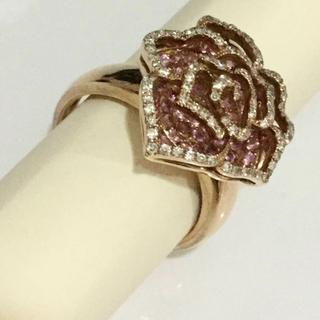 K18 バラモチーフ指輪 サファイア0.90 ダイヤ0.35 薔薇モチーフリング(リング(指輪))