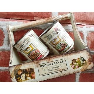 レトロな子猫のリメイク缶2個&お揃いおかもち型木箱の3点セット リバーシブル(その他)