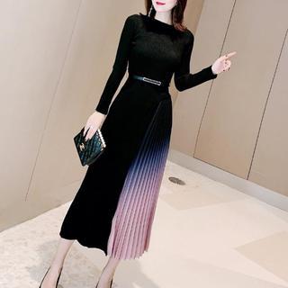 レッドヴァレンティノ(RED VALENTINO)のSALE‼️韓国ファッション ニット ワンピース ブラック 着痩せ ドレス(ロングワンピース/マキシワンピース)