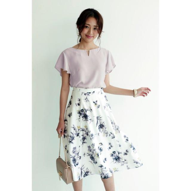 JUSGLITTY(ジャスグリッティー)のJUSGLITTY ❤️ ペイントフラワープリントスカート レディースのスカート(ひざ丈スカート)の商品写真