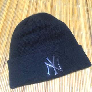 ニューエラー(NEW ERA)のNEWERAニュヨークヤンキースNYニットキャップ帽ビーニー中古品ユニセックス(ニット帽/ビーニー)