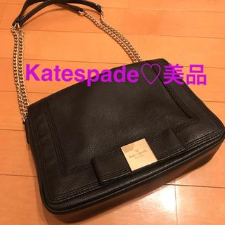 ケイトスペードニューヨーク(kate spade new york)の美品♡ katespade レザー リボン ショルダーバッグ(ショルダーバッグ)