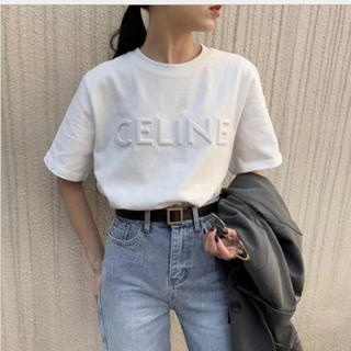 M  ホワイト 白 刺繍 Tシャツ 半袖 英字ロゴ CELINE セリーヌ