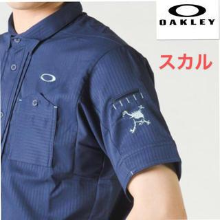 オークリー(Oakley)のM 新品 定価13200円 オークリー メンズ スカル シャツ ゴルフシャツ紺(ウエア)