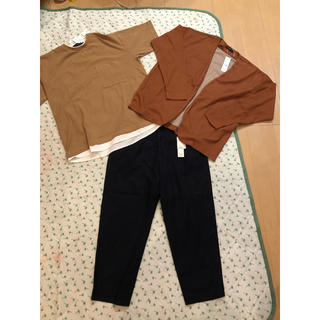 レイジブルー(RAGEBLUE)の新品!レイジブルー★ワイドアンクルパンツ&レイヤードTシャツ&ノーカラーガーデM(Tシャツ/カットソー(七分/長袖))