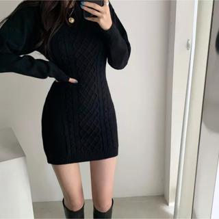 dholic - 当日発送可能❤韓国ファッションセクシー黒ニットワンピース