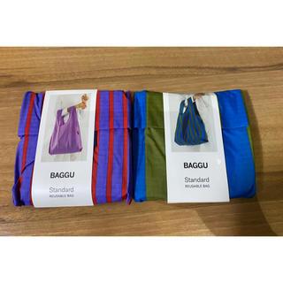 ビームス(BEAMS)のBAGGU 2点セット cyan stripe & optic stripe(エコバッグ)