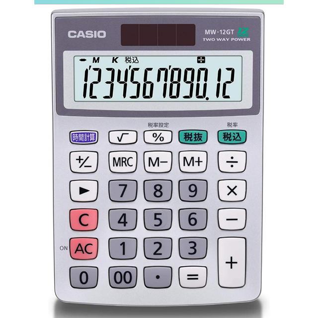 CASIO(カシオ)のカシオ 電卓 mw-12gt-n インテリア/住まい/日用品のオフィス用品(オフィス用品一般)の商品写真