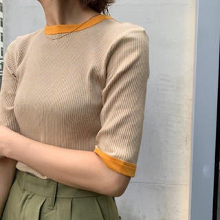 Kastane - 細リブリンガー5部袖TEE オレンジ