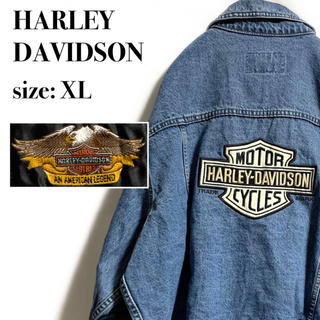 ハーレーダビッドソン(Harley Davidson)の【希少】 ハーレー デカロゴ  デニムジャケット  オーバーサイズ ヴィンテージ(Gジャン/デニムジャケット)
