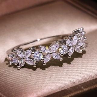 ホワイトサファイア 花柄 シルバー リング 指輪 14号(リング(指輪))