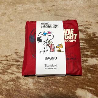 スヌーピー(SNOOPY)のBAGGU Standard スヌーピー  プラザ限定 レッド 完売品(エコバッグ)