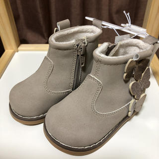 エイチアンドエム(H&M)の値下げ H&M 新品タグ付き ベビー ボアショートブーツ グレー 12㎝(ブーツ)