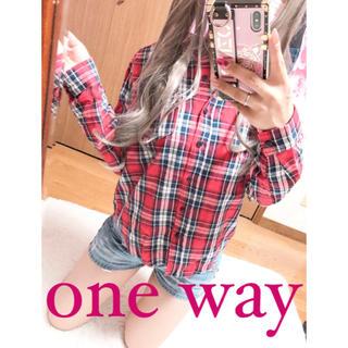 ワンウェイ(one*way)の2533.one way 赤チェック シャツ ネルシャツ チェックシャツ(シャツ/ブラウス(長袖/七分))