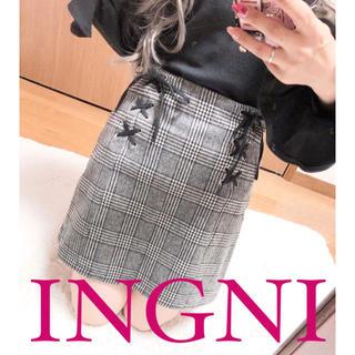 INGNI - 2537.INGNI レースアップ チェック柄 ハイウエストスカート