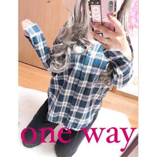 ワンウェイ(one*way)の2549.one way ブルーチェック ネルシャツ シャツ チェックシャツ(シャツ/ブラウス(長袖/七分))