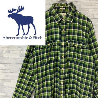アバクロンビーアンドフィッチ(Abercrombie&Fitch)のアバクロ ネルシャツ ワンポイント刺繍ロゴ チェック グリーン ゆるダボ XL(シャツ)