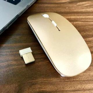 ☆持ち運び便利☆ 超薄型 ワイヤレス マウス ゴールド