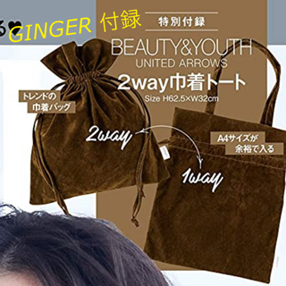 BEAUTY&YOUTH UNITED ARROWS - ginger 付録 2way 巾着トートバッグ BEAUTY&YOUTH