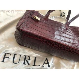 フルラ(Furla)のフルラ クロコ型押し レザー バッグ トートバッグ ハンドバッグ(ハンドバッグ)